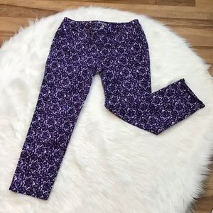 Chico's Purple White Patterned Jeans Sz 15 Ankle